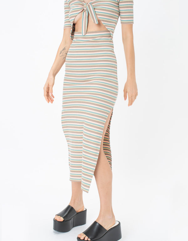 Rib Tie Midi Dress St Tropez Stripe