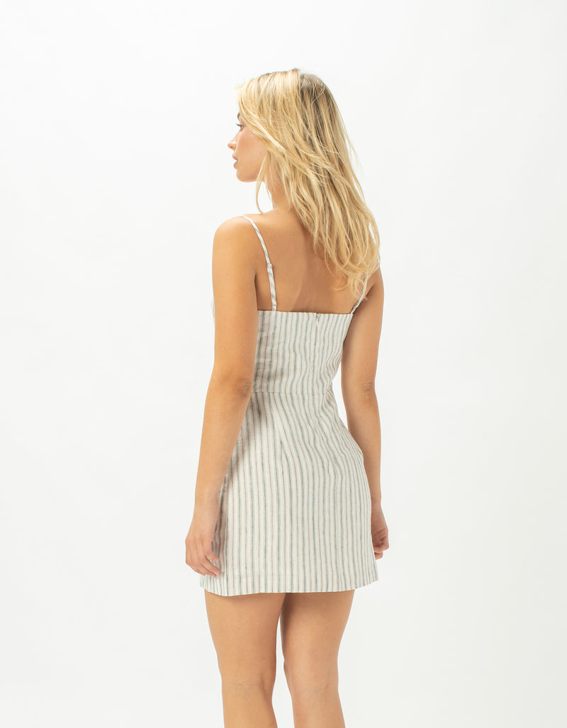 Fitted Shift Dress Linen Stripe - Sale