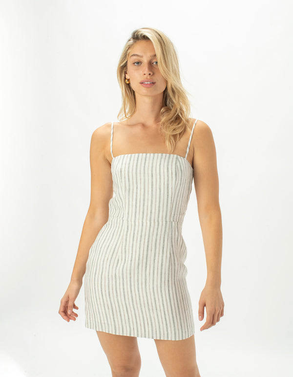 Fitted Shift Dress Linen Stripe