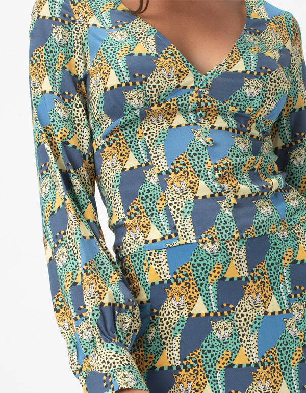 V Neck Blouse Loungin Leopard