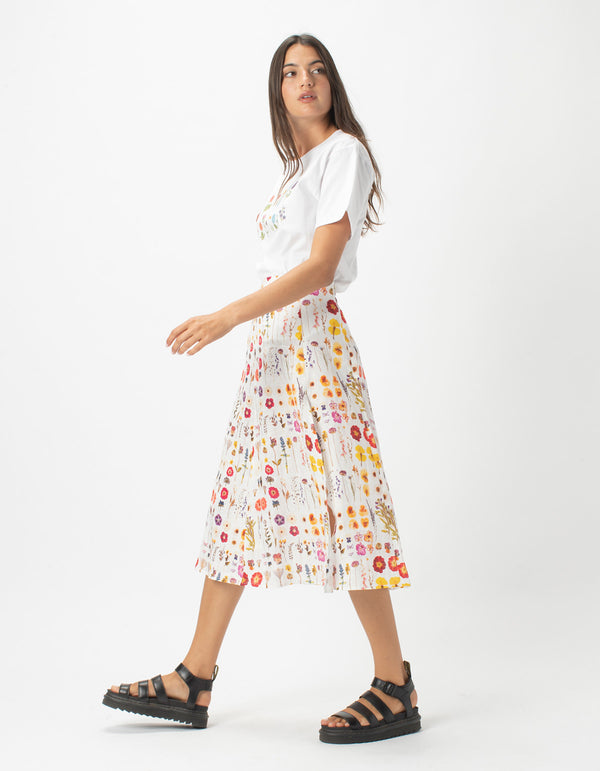 A Line Split Midi Skirt Pressed Floral