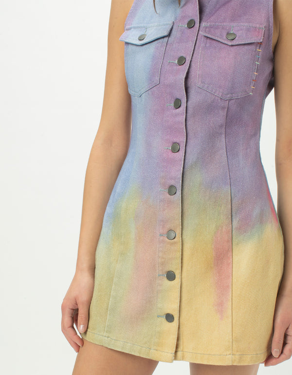 Denim Dress Purple Tie Dye