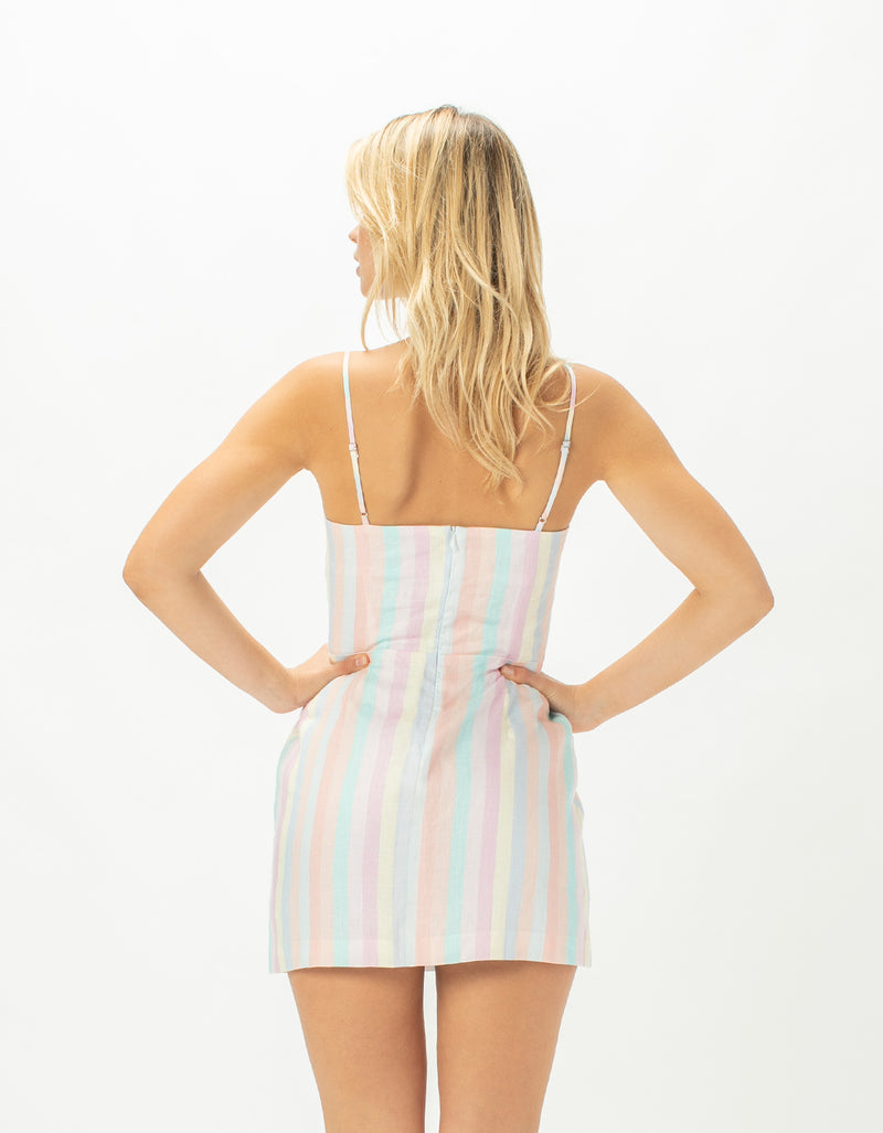 Fitted Shift Dress Pastel Stripe