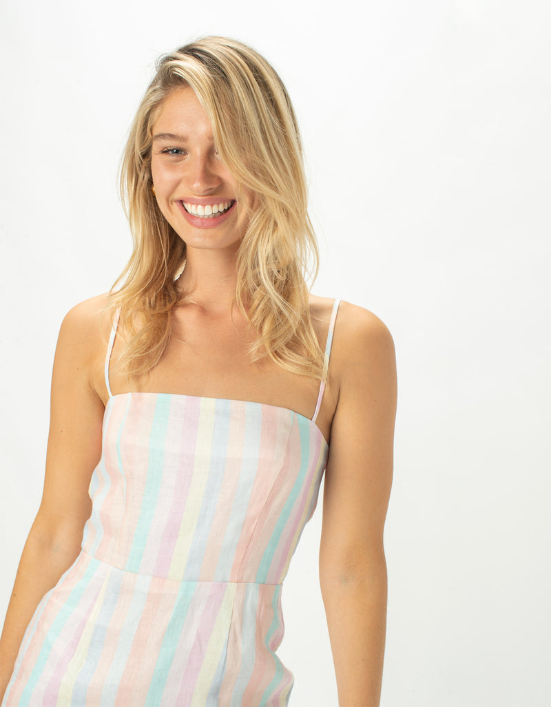 Fitted Shift Dress Pastel Stripe  - Sale