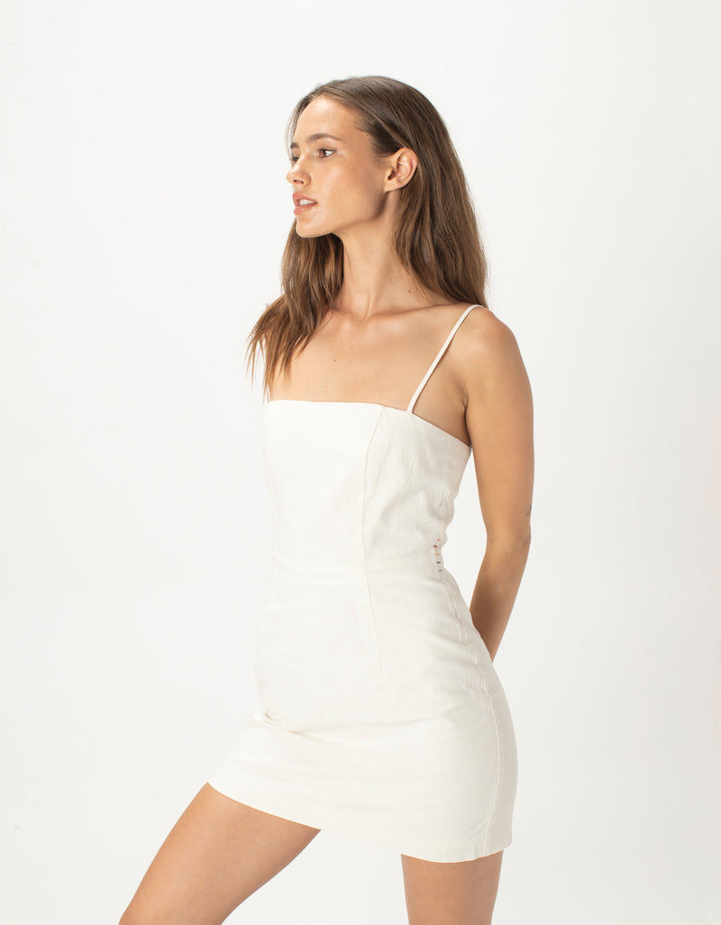 Fitted Shift Dress White