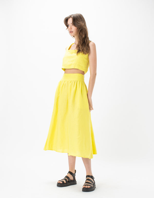 High Waist Midi Skirt Lemon