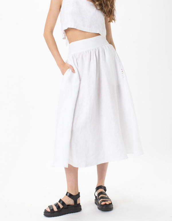 High Waist Midi Skirt White