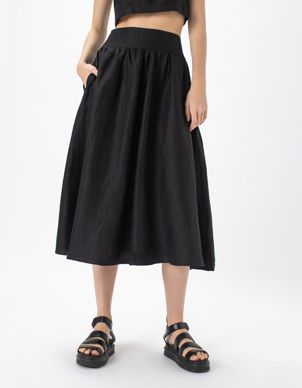 High Waist Midi Skirt Black