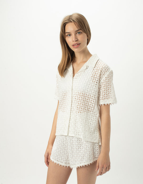 Resort Shirt White Jacquard - Sale