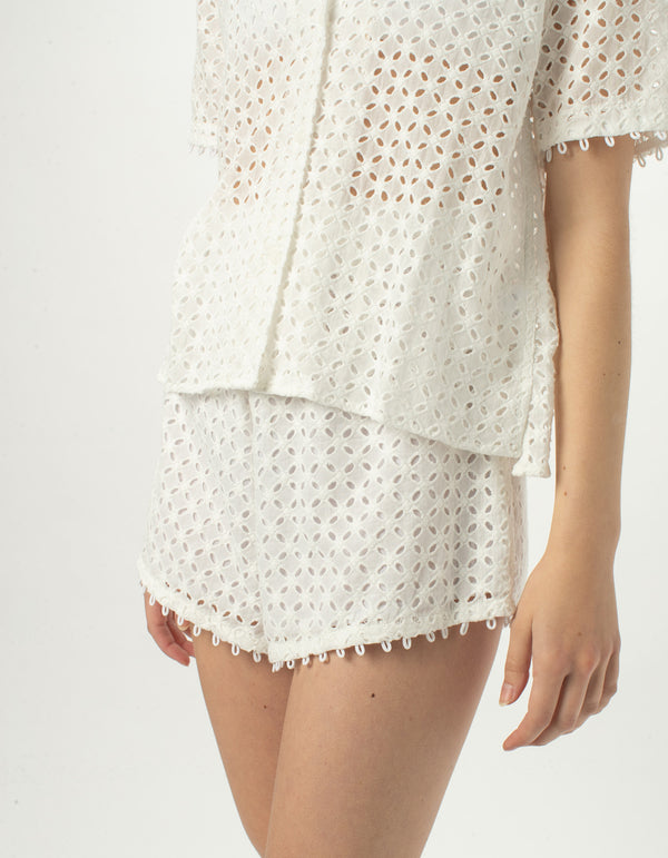Resort Short White Jacquard - Sale