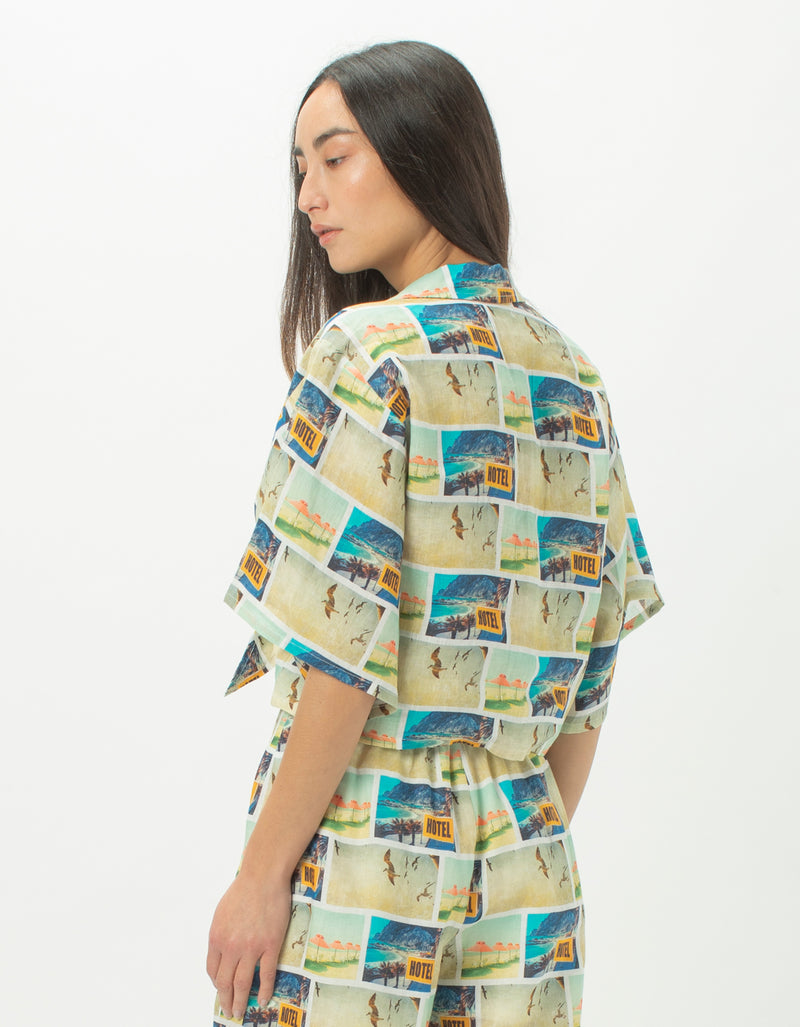 Resort Tie Shirt Holiday Print