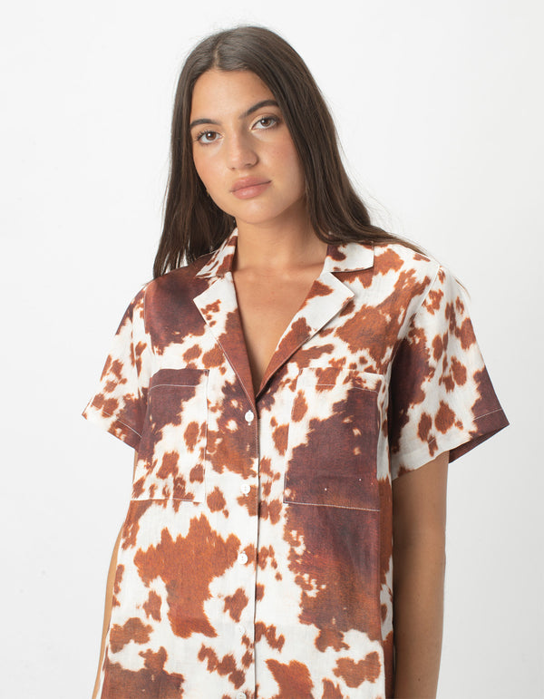 Safari Shirt Cow Print Linen