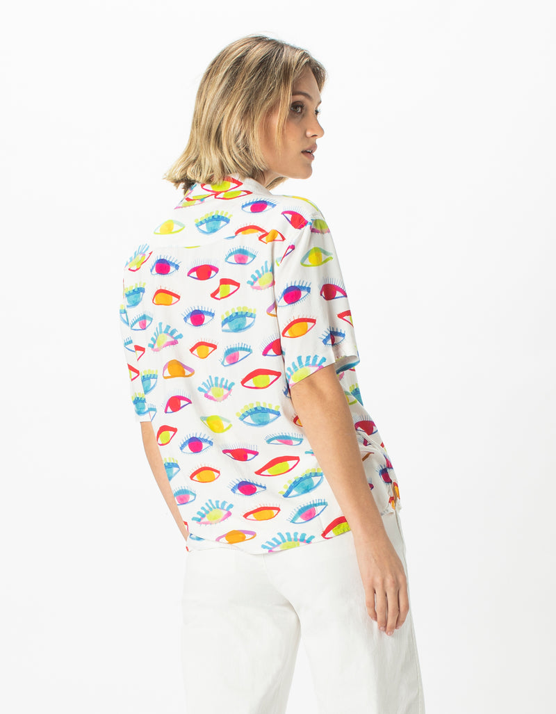 Resort Shirt Eyes Print