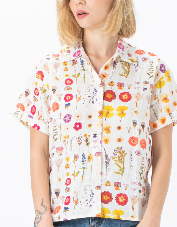 70's Shirt Pressed Floral