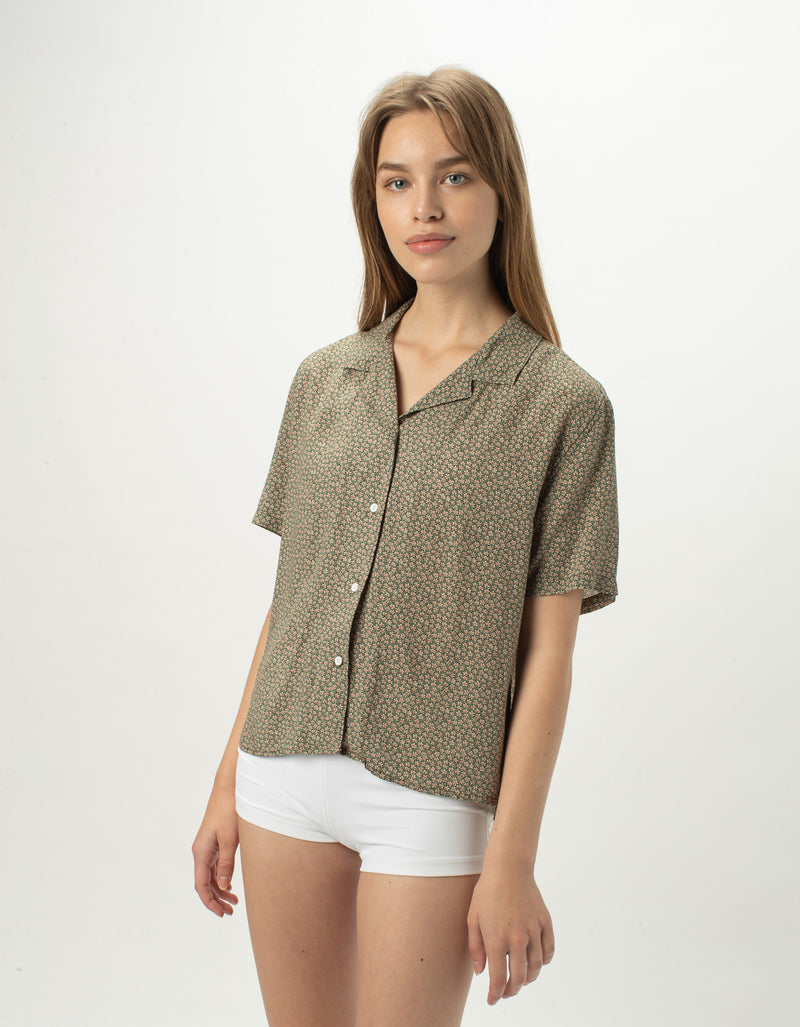 Resort Shirt Olive Floral