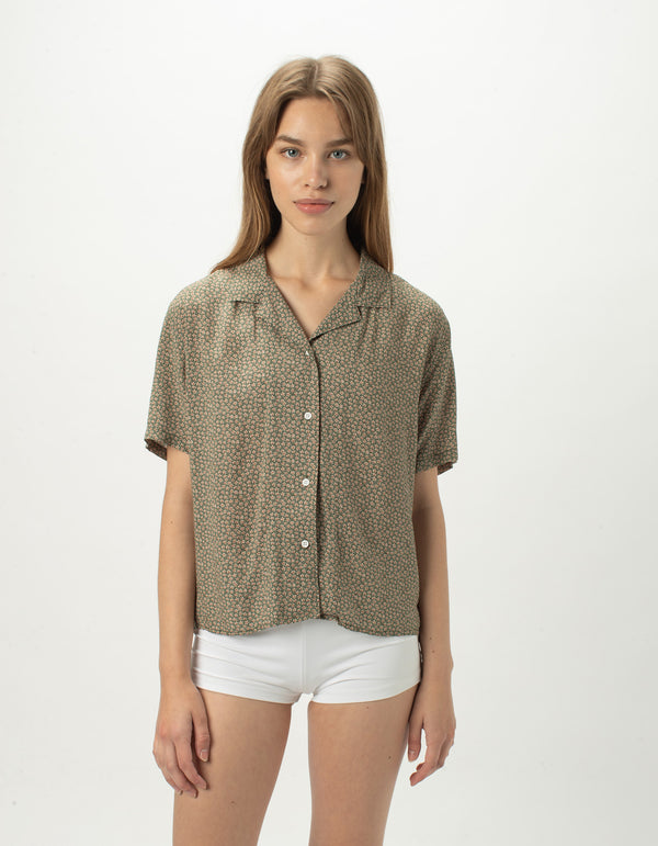 Resort Shirt Olive Floral - Sale