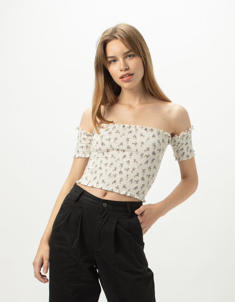 Gather Top White Floral