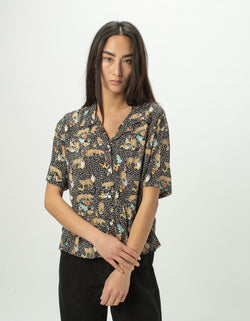 Resort Shirt Black Leopard
