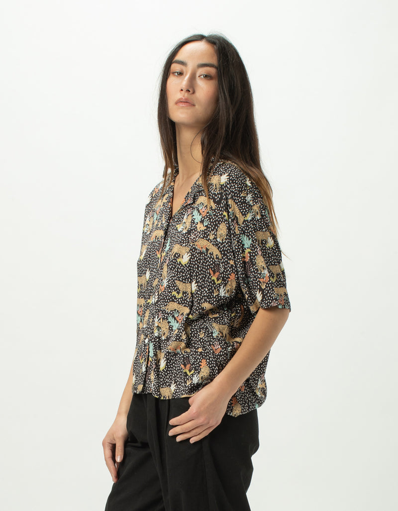 Resort Shirt Black Leopard - Sale