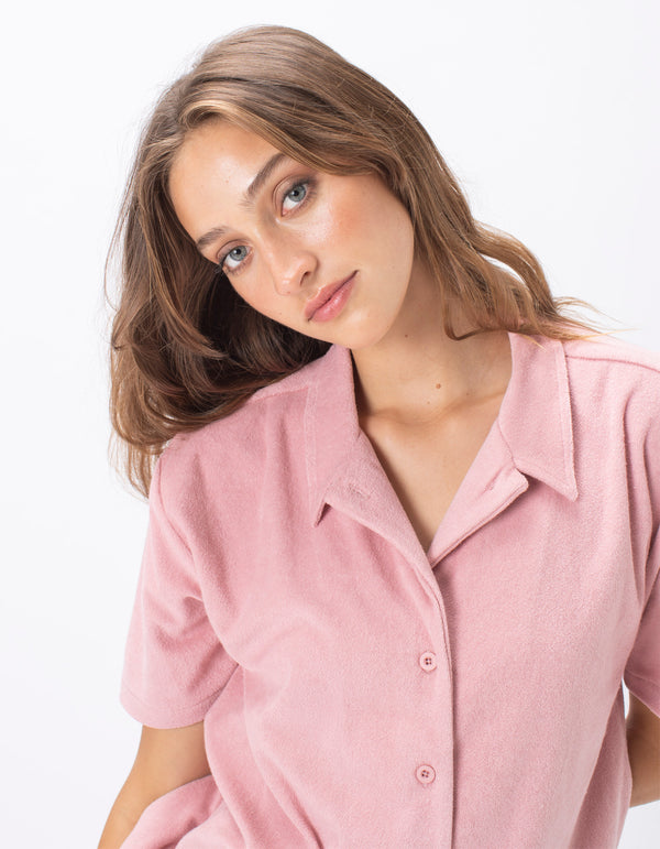 Poolside Terry Shirt Dusty Pink