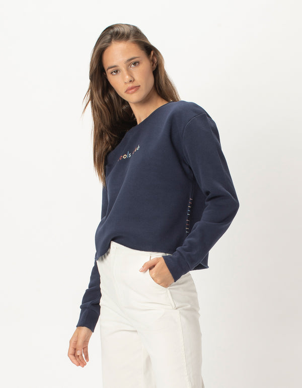 Colour Member Crop Sweat Navy - Sale