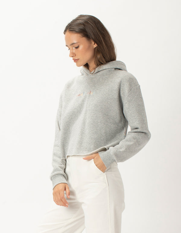 Colour Member Crop Hood Grey Melange - Sale