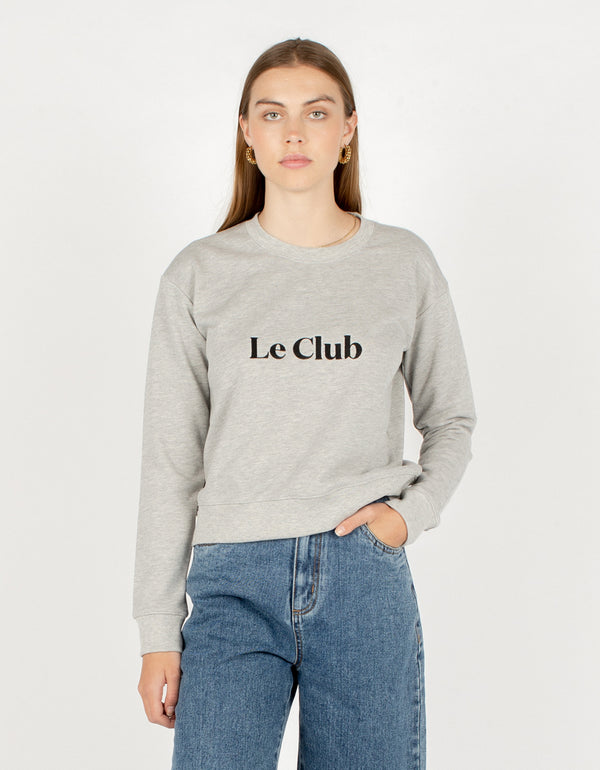 Le Club Crew Sweatshirt Grey Melange - Sale