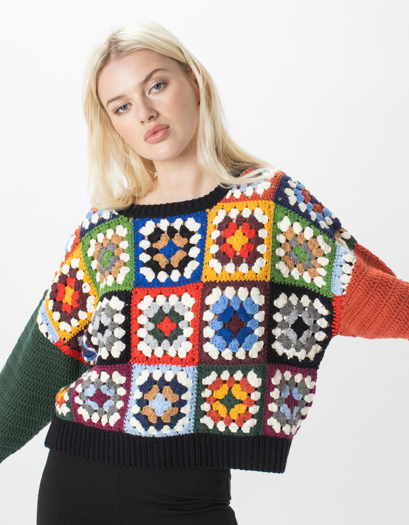 Crochet Crew Knit Patchwork