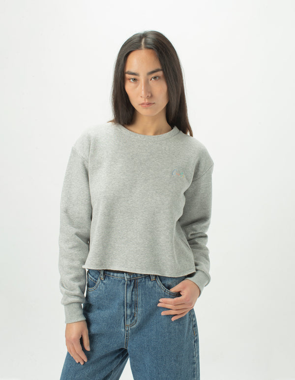 Colour Cools Crop Crew Grey Melange