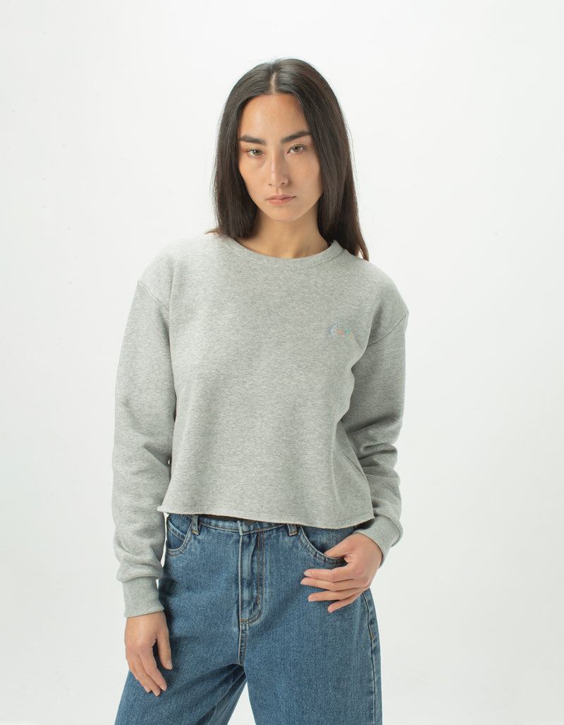 Colour Cools Crop Crew Grey Melange - Sale