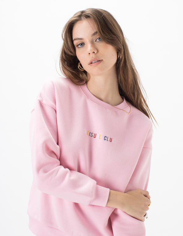 Leisure Embro Sweat Pink