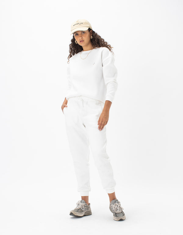 Badge Fleece Pant White