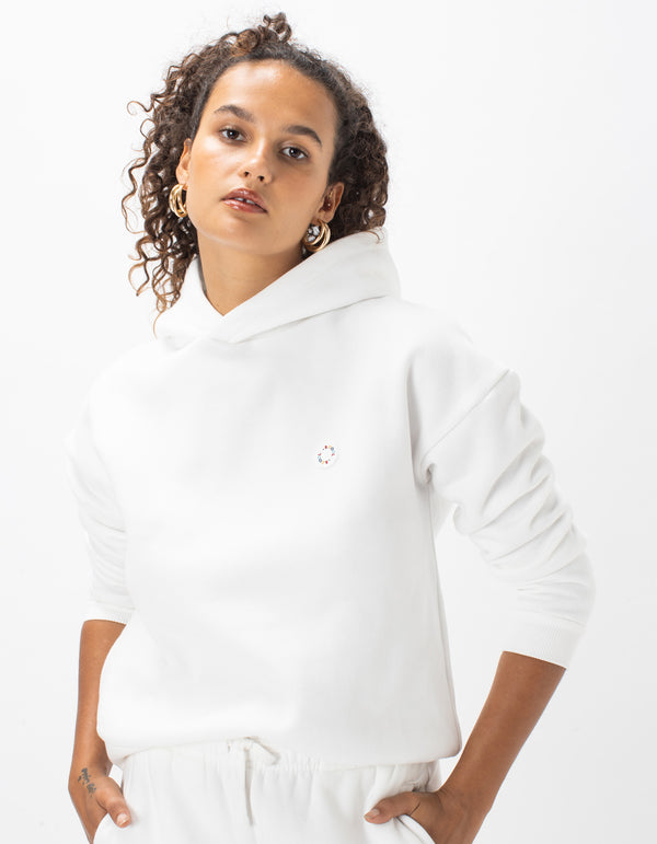 Badge Hood Sweat White