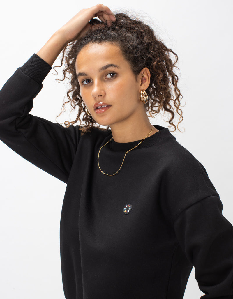 Badge Crew Sweat Black