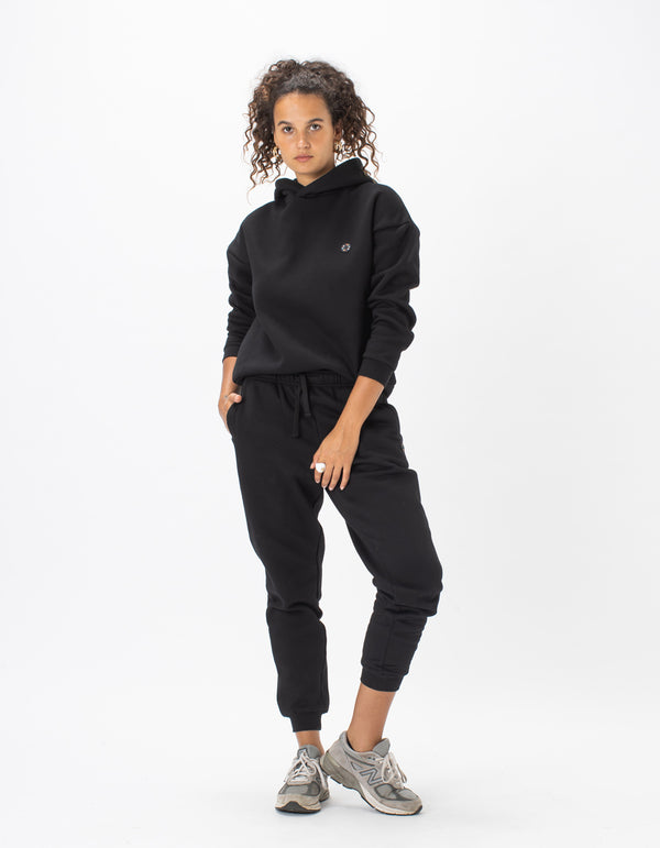 Badge Fleece Pant Black