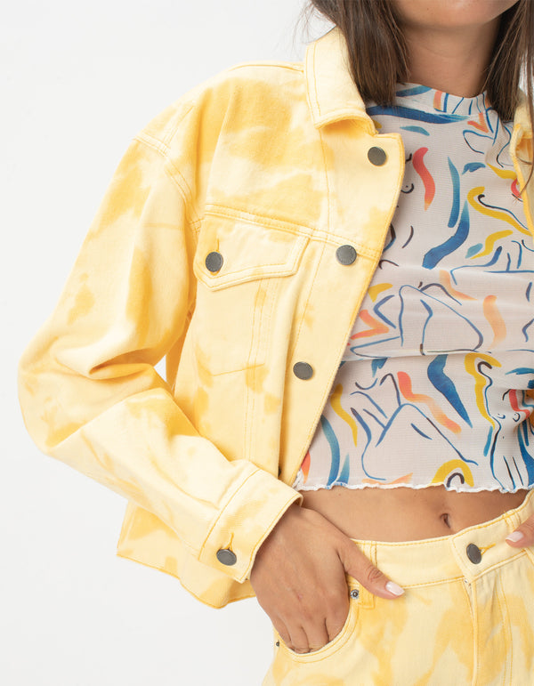 Original Jean Jacket Yellow Tie Dye