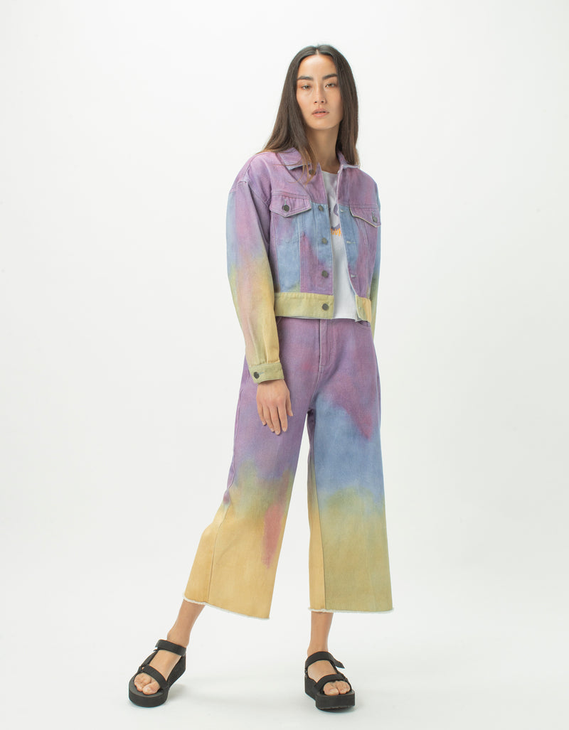 High Rise Relax Jean Purple Tie Dye