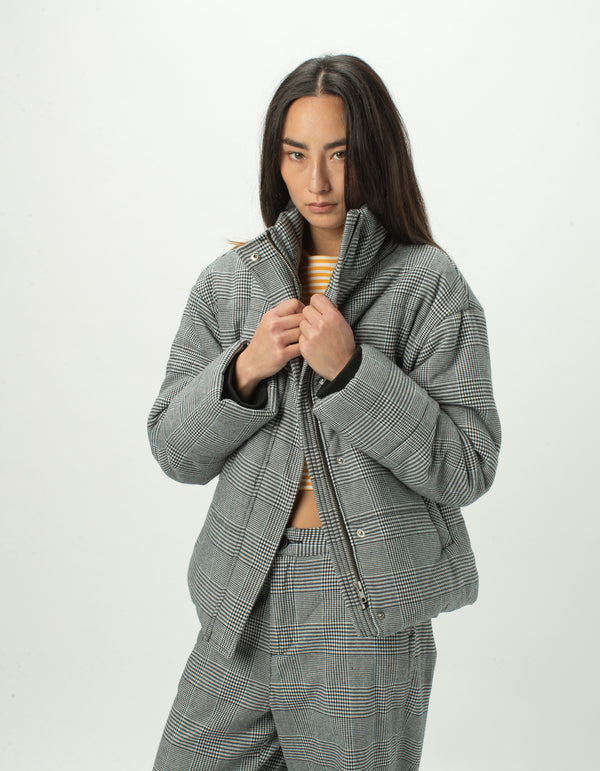 Puff Club Jacket Grey Plaid - Sale