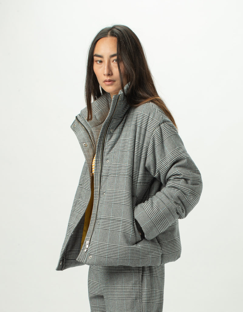 Puff Club Jacket Grey Plaid