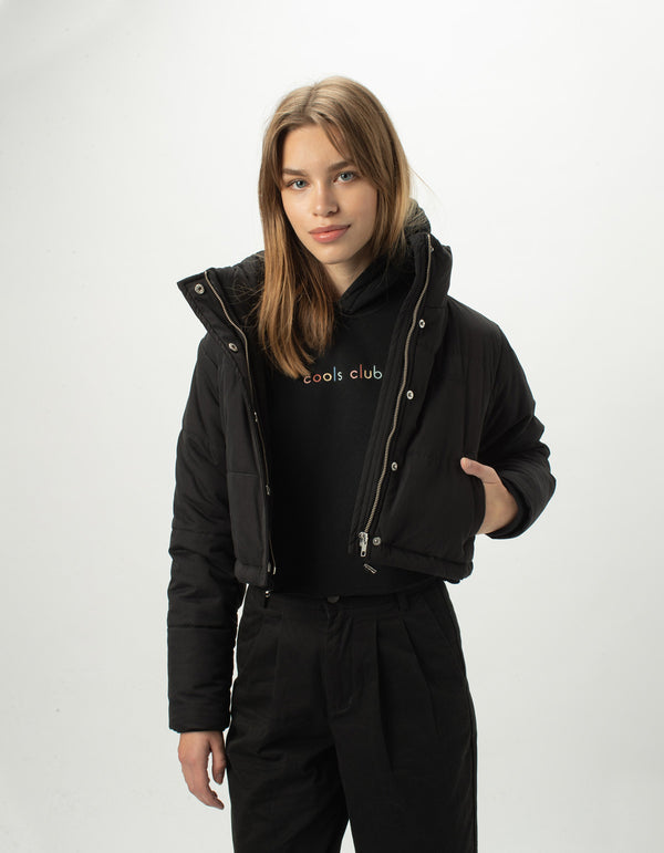Cropped Puff Club Jacket Black