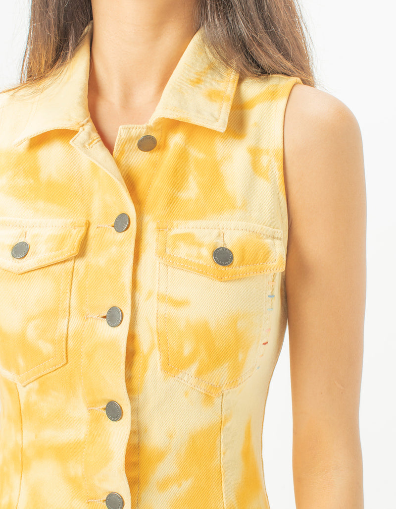 Denim Dress Yellow Tie Dye