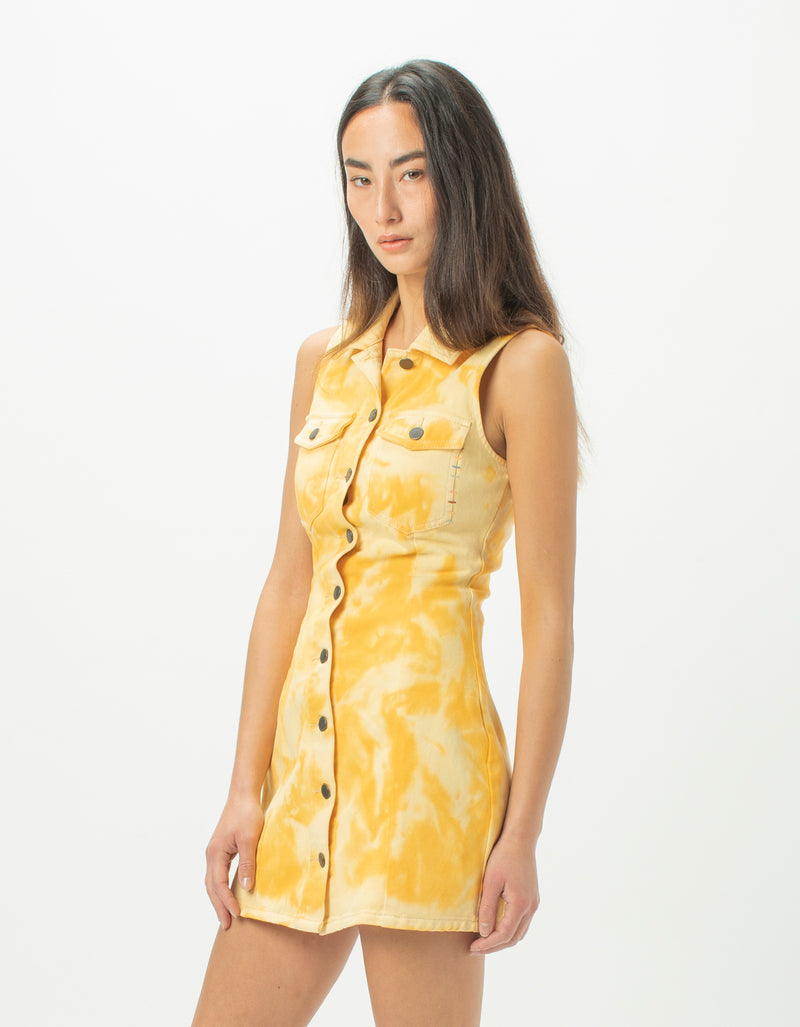 Denim Dress Yellow Tie Dye - Sale
