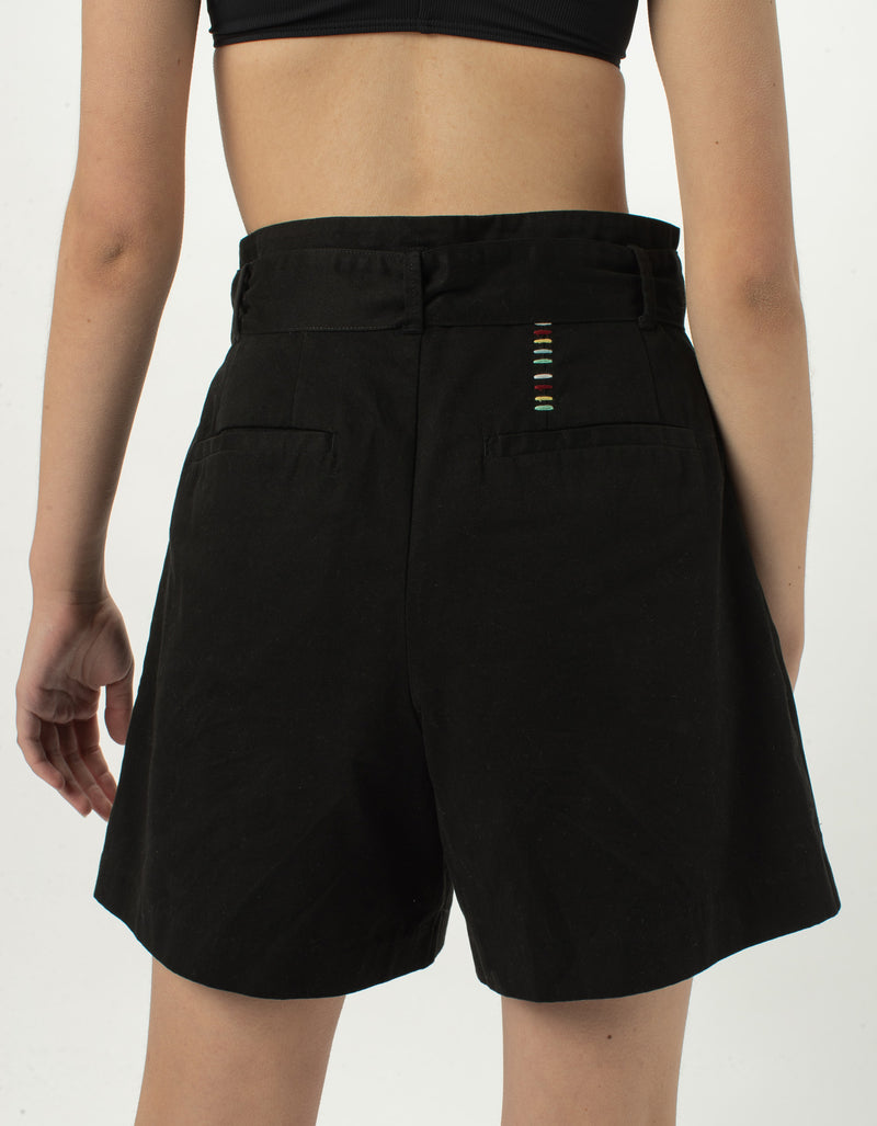 High Rise Pleat Short Black - Sale