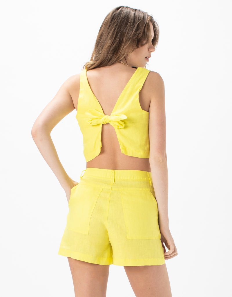 Square Neck Top Lemon