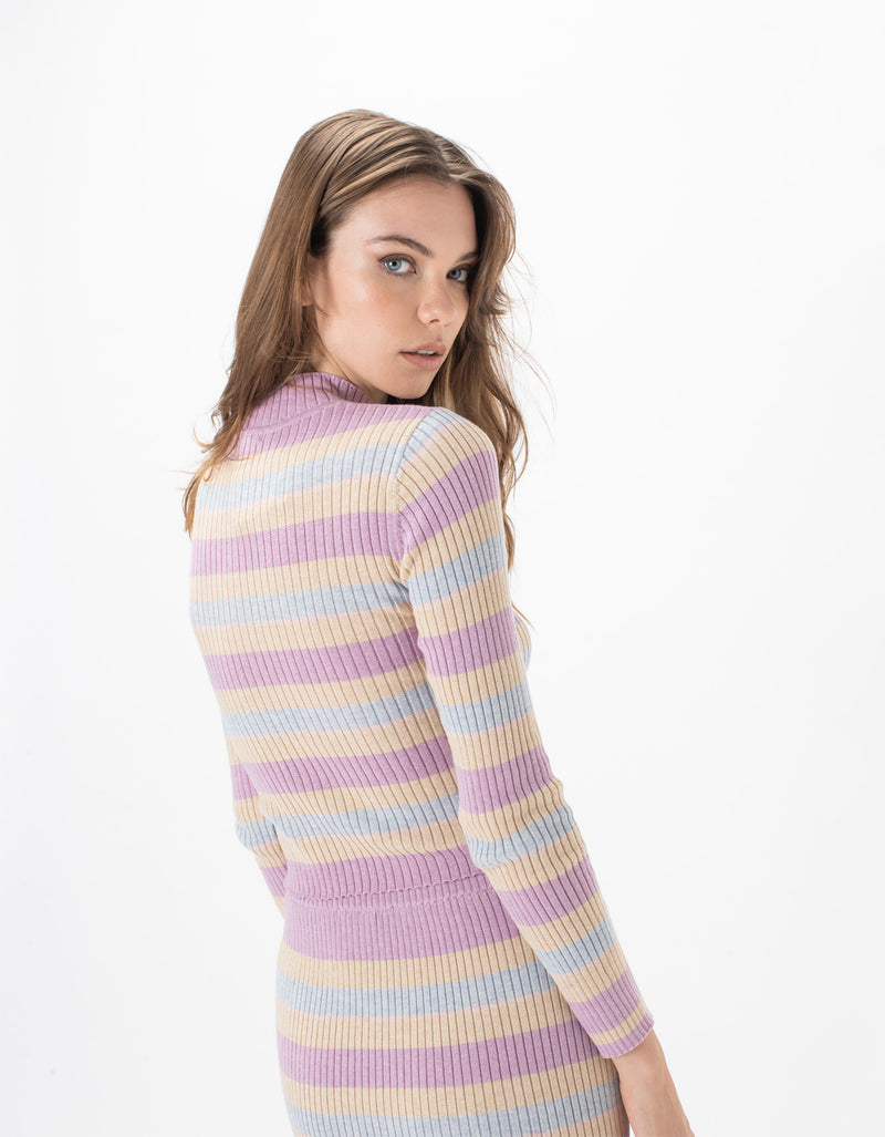 Knit Top Oat Stripe