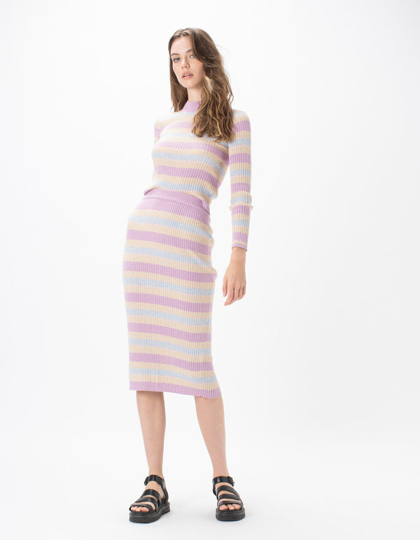 Knit Midi Skirt Oat Stripe