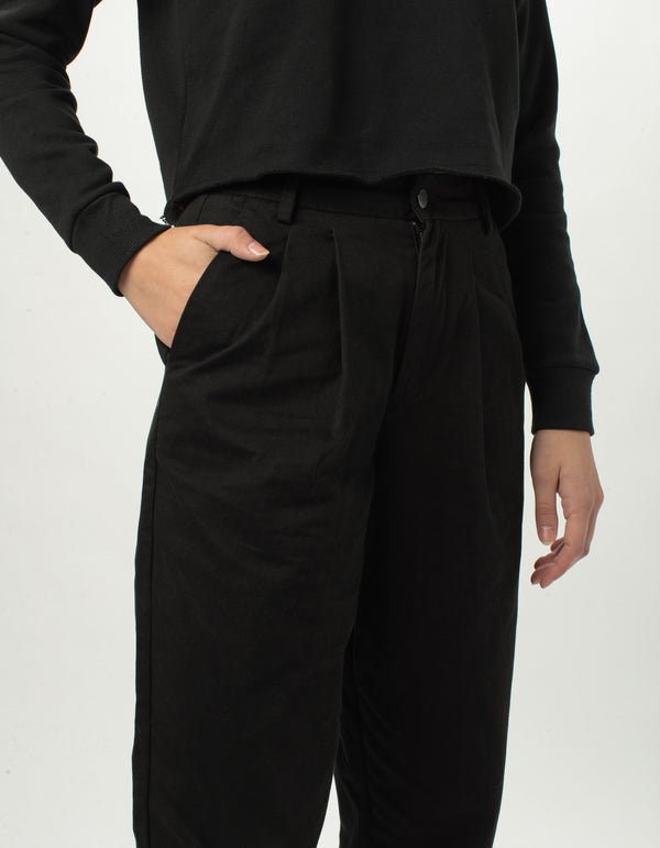 High Rise Pleat Pant Black