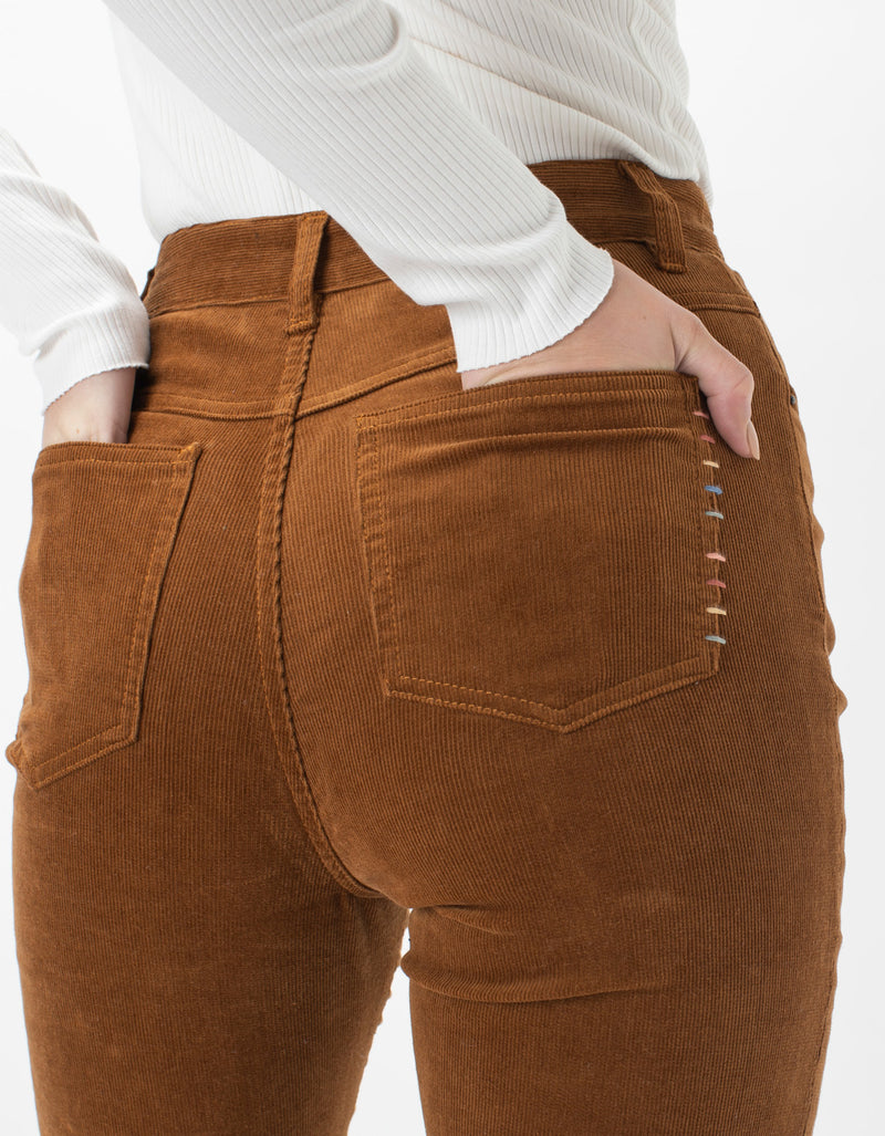 High Rise Flare Jean Rust Cord