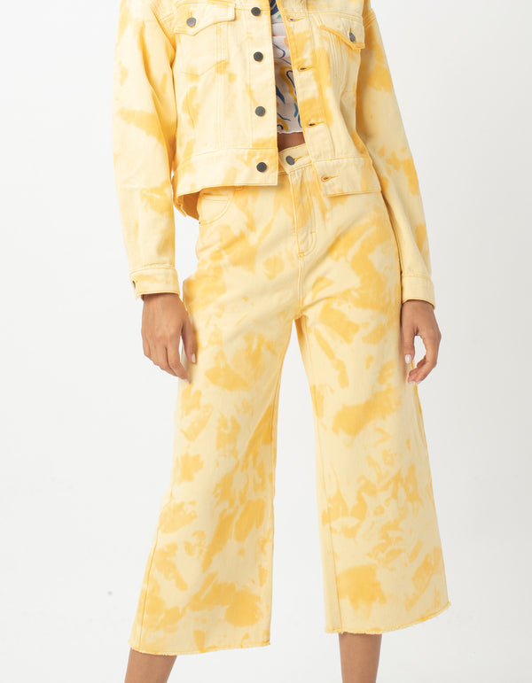 High Rise Relax Jean Yellow Tie Dye