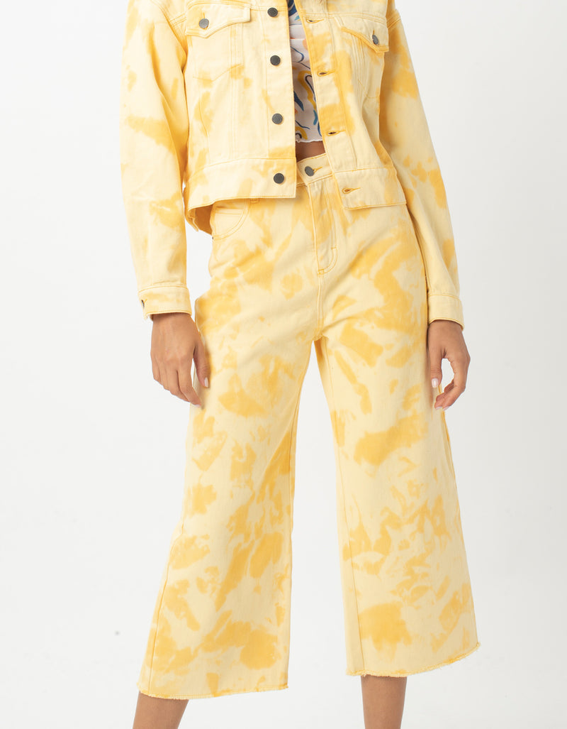 High Rise Relax Jean Yellow Tie Dye - Sale